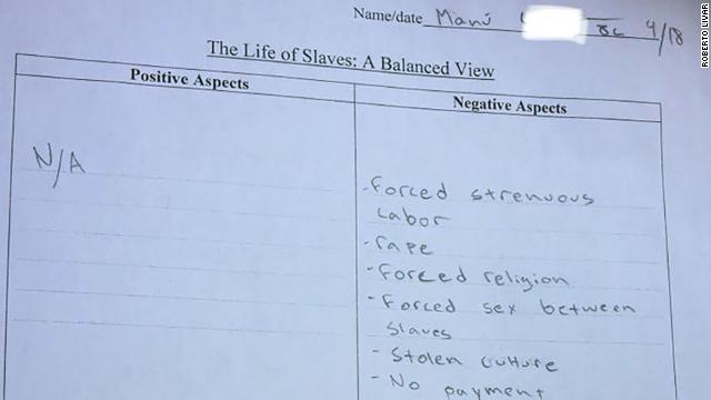A Texas charter school gave eighth-grade students a homework assignment to list positive aspects of slavery. The school has since apologized. https://t.co/XxK1Yi5jLw