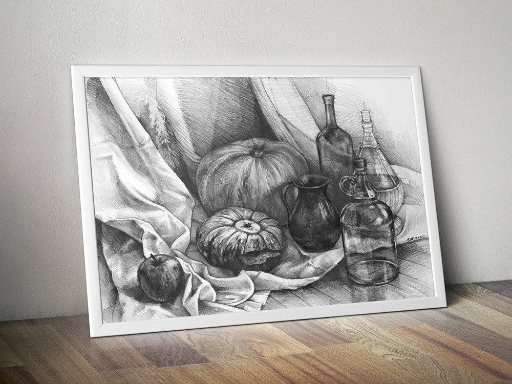 still life pencil drawing PRINT  by Katarzyna Kmiecik /archival print, giclee art, realistic still life, pencil art, kitchen decor, pumpkins  https:// etsy.me/2qXHYVC  &nbsp;   #art #buyprint #artprints #print #etsyseller #artonetsy #artprint #prints #DrawingPrint<br>http://pic.twitter.com/QPpVWZFaoT