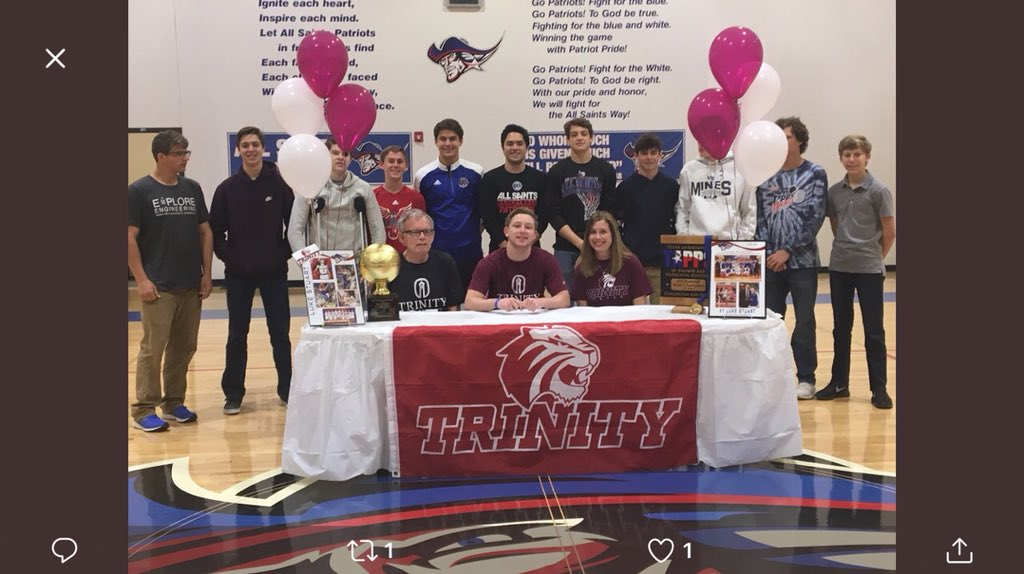 Congratulations to All Saints Senior Luke Stuart on signing to continue his basketball career at Trinity University in San Antonio.  Thanks for giving it all to the Patriots and Go Trinity Tigers!@AllSaintsPride @LoneStarVarsity @pchristy11 @806hssc @fox34 @PaulTubbs_KLBK