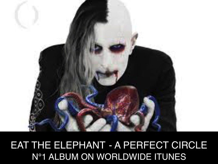 #APerfectCircle debuts at N°1 on the Worldwide iTunes Album chart today with their brand new LP #EatTheElephant!👏1⃣🌎🎵🌟 New entry at N°2 for #JColes new Album #KOD! #Sting & #Shaggys 44/876 rockets 49 spots to N°3 and #TheChainsmokers #SickBoy EP debuts at N°4!
