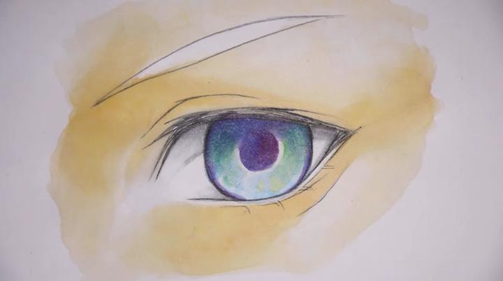 コピックと色鉛筆で、きれいな目を描いていきます❗ どんどんリアルな目が出来上がっていく様子に釘づけです..(ⓛωⓛ*)