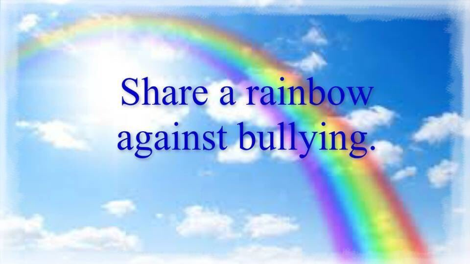 Hey everyone on Sat 21st, our Youth Ambassador Jess is asking people to change their Facebook profile pic to a rainbow for her 'Rainbow Saturday' Campaign. Please join us and change your profile photo to a rainbow #StandUpSpeakOut #TogetherWeCanMakeADifference @BulliesOut