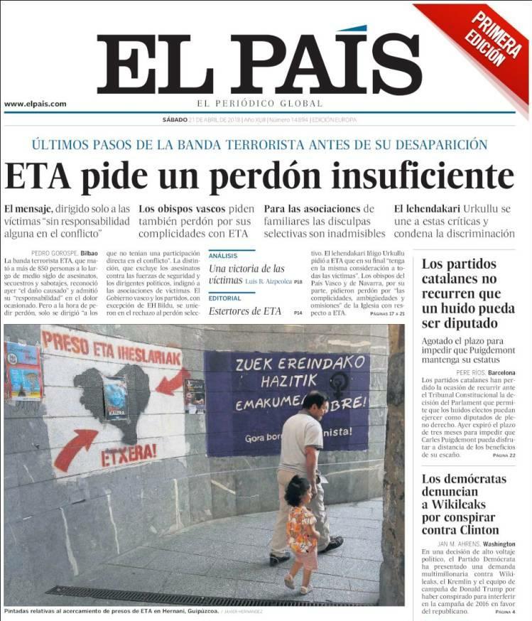 #21Abr ETA 'pide un perdón insuficiente'...