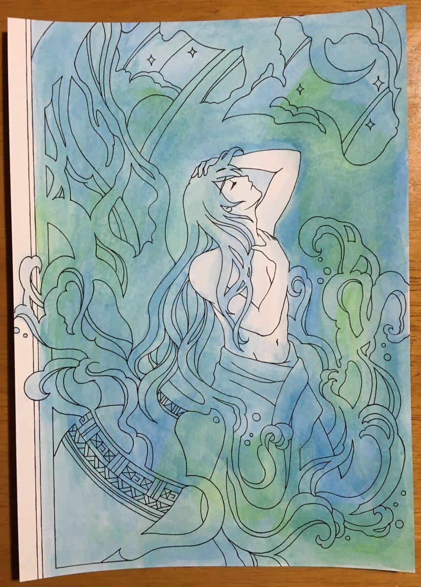 test ツイッターメディア - 水彩を色鉛筆画の下地にしたくなり、以前購入した #高橋加賀里 さんの #コアマルージュ  という塗り絵本の水っぽいページを塗り始めました。絵の具はダイソーの固形絵の具。イケメンのハダカには興味はありませんがこれも修行の一環として楽しんでみます。 #大人の塗り絵 #ダイソー https://t.co/1F2mV6x2Kf