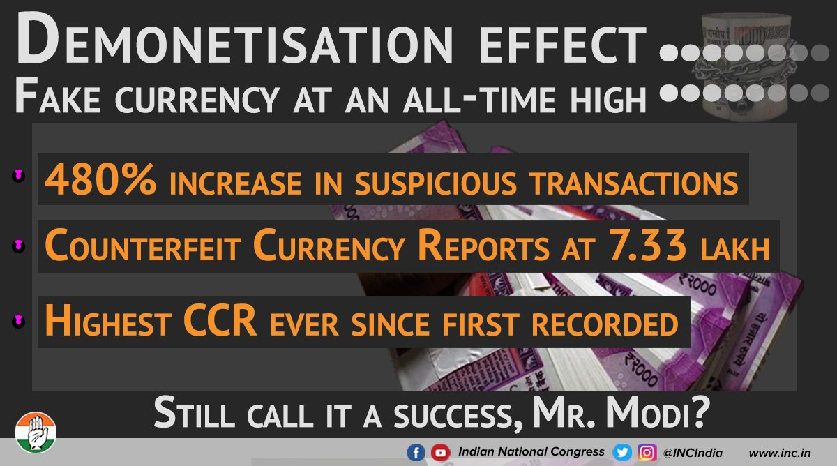 Fake currency is at all-time high and dubious transactions have skyrocketed by 480%. Modi Govt's demonetisation has failed to meet its stated, and shifting objectives. Would you still call it a success, PM Modi?