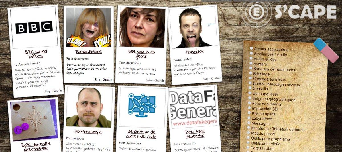 Sept Nouvelles Ressources Dans Le Bric A Brac De SCAPE Avec Divers Generateurs Cartes Visite Donnees Vieillissement Et Portraits Robots