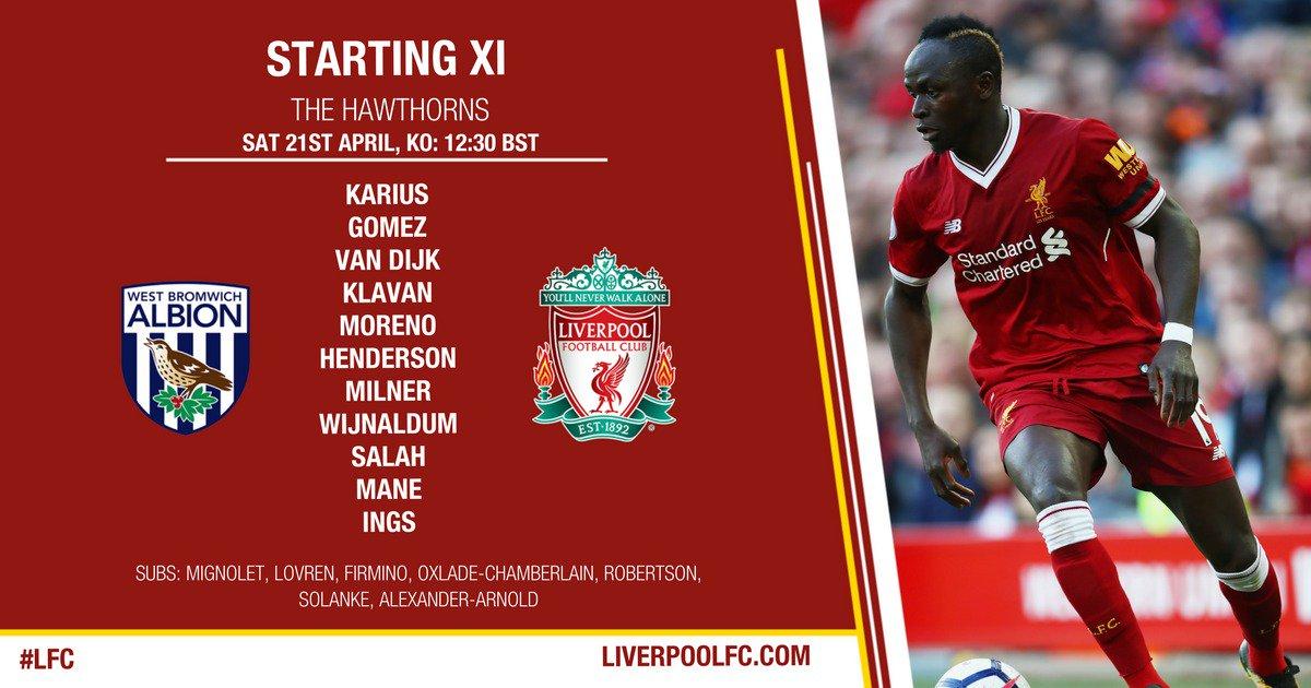 Premier League – West Brom vs Liverpool , Sadio Mané titulaire avec les reds