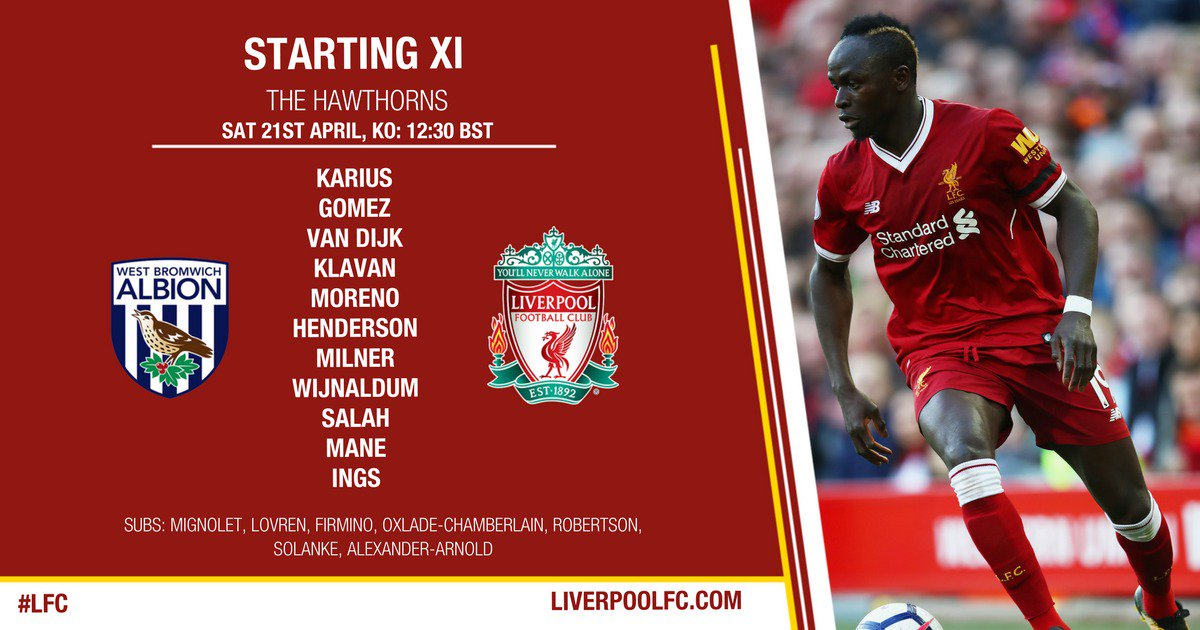 �� The #LFC team to face @WBA...  #WBALIV �� https://t.co/6XOx3UJ7x7 https://t.co/BdTIwhw7jF