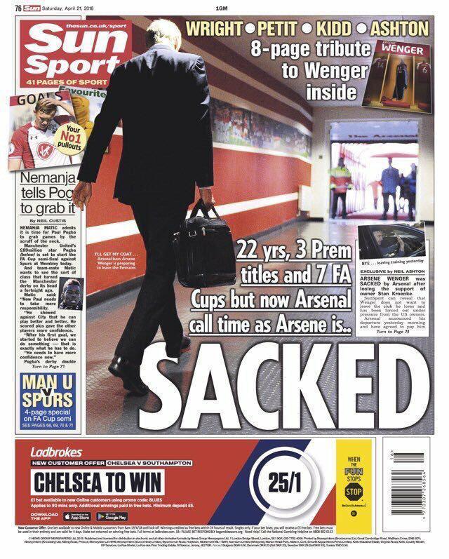 Lors dévénement aussi important que le départ de Wenger, il y a toujours des journaux qui arrivent à sortir du lot.  Sun Sport et @lequipe en font partie par exemple. Maintenant, on est sûr que ce sont des torchons. #MerciArsène #AFC
