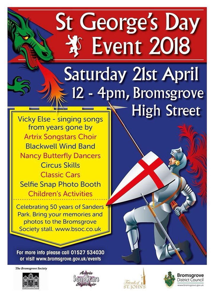 #StGeorgesDay celebrations planned for this afternoon on #Bromsgrove High Street. Fun for all the familypic.twitter.com/MWtY59avFj