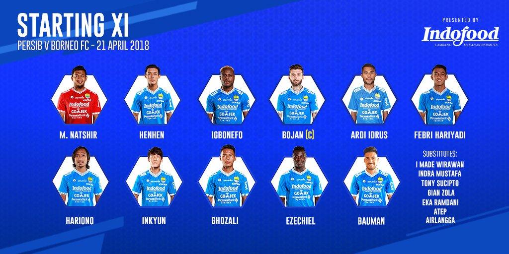 Susunan pemain Starting XI Persib kontra Borneo FC, via twitter @persib