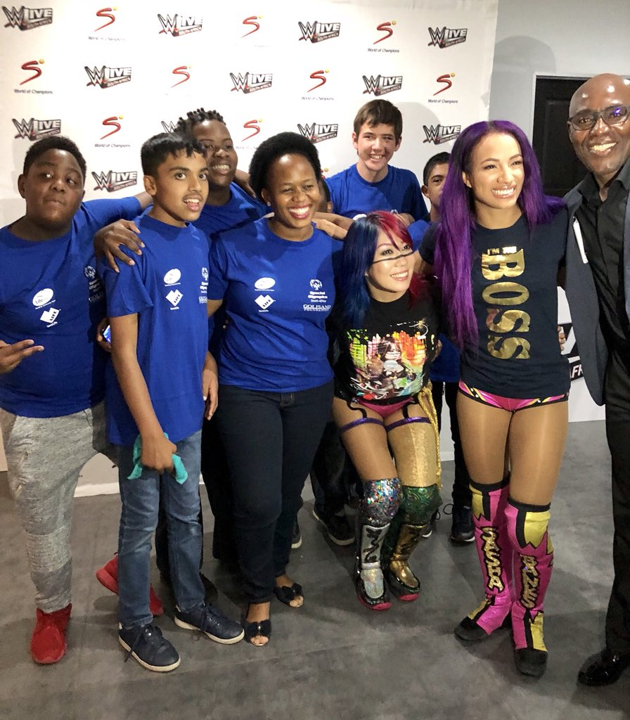 Meeting our newest friends @SashaBanksWWE &amp; @WWEAsuka at #WWEJohannesburg!  Thank you for opening your hearts to the athletes of @SpecialOlympics #ChooseToInclude <br>http://pic.twitter.com/jpwdZm7S8I