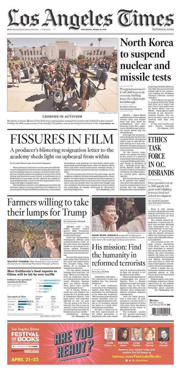 Today's @latimes front page features reporting from Seoul, Jakarta, Santa Monica, Orange County, Hollywood and the San Joaquin Valley