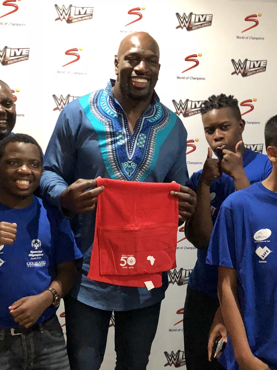Get ready to sweat... We&#39;re so proud @TitusONeilWWE will be using our #SpecialOlympics50 towel when he takes to the ring live at #WWEJohannesburg in Africa! @SpecialOlympics @SO_SouthAfrica @UnityCollegeJhb #ChooseToInclude <br>http://pic.twitter.com/CURN38gheL