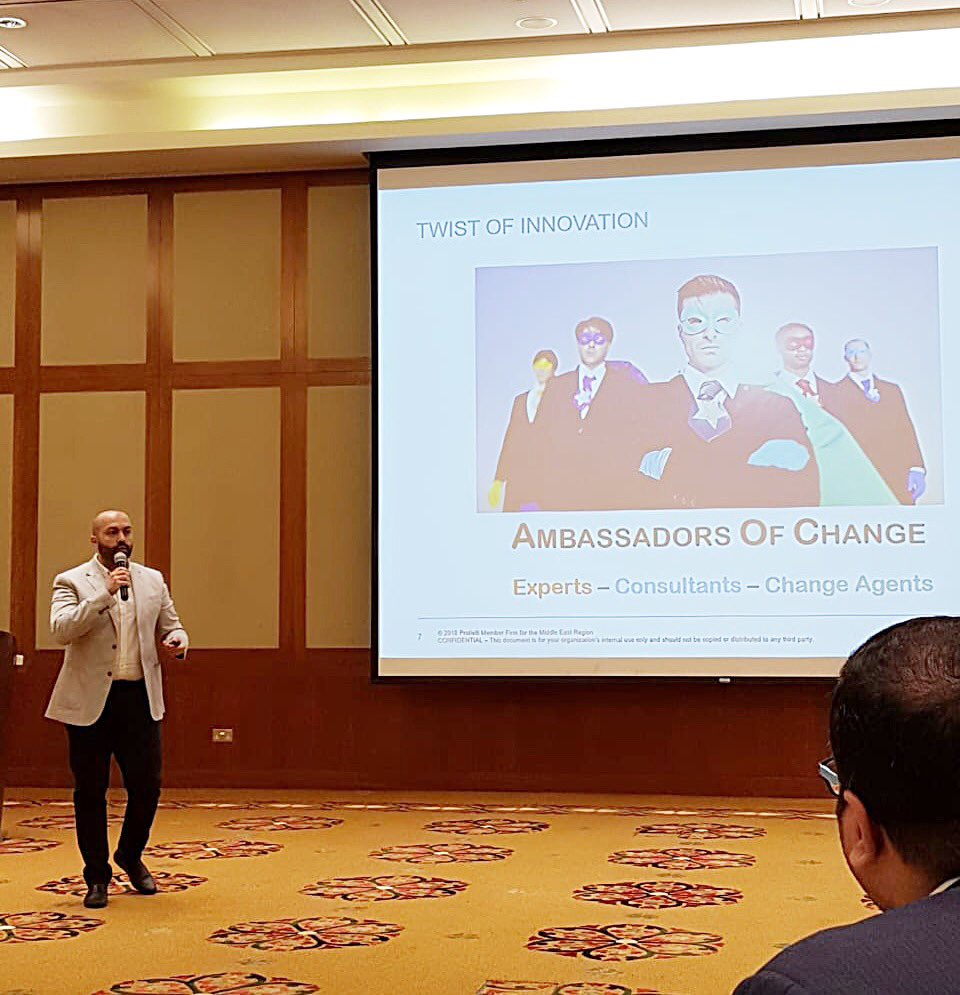 Grateful for having the opportunity to deliver a presentation at #Protiviti regional meeting on how adding a twist of #innovation can foster a sustained client relationship &amp; lead to more effective outcomes #EI #success #oman #middleeast #change #changemakers #protivitioman<br>http://pic.twitter.com/29mDBIDrn8