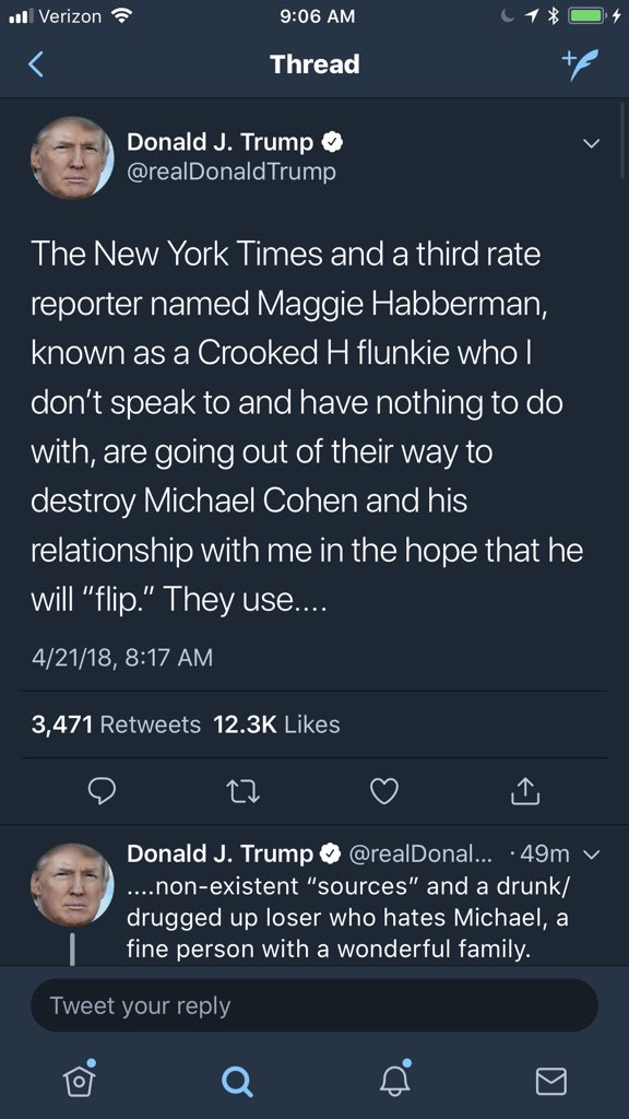 "On the day the political world comes together to mourn a former First Lady, Trump falsely says he doesn't speak to @maggieNYT and unfairly attacks her, defames a person by calling him ""drugged up,"" and tries to convince his personal lawyer from flipping. Then heads to golf course"