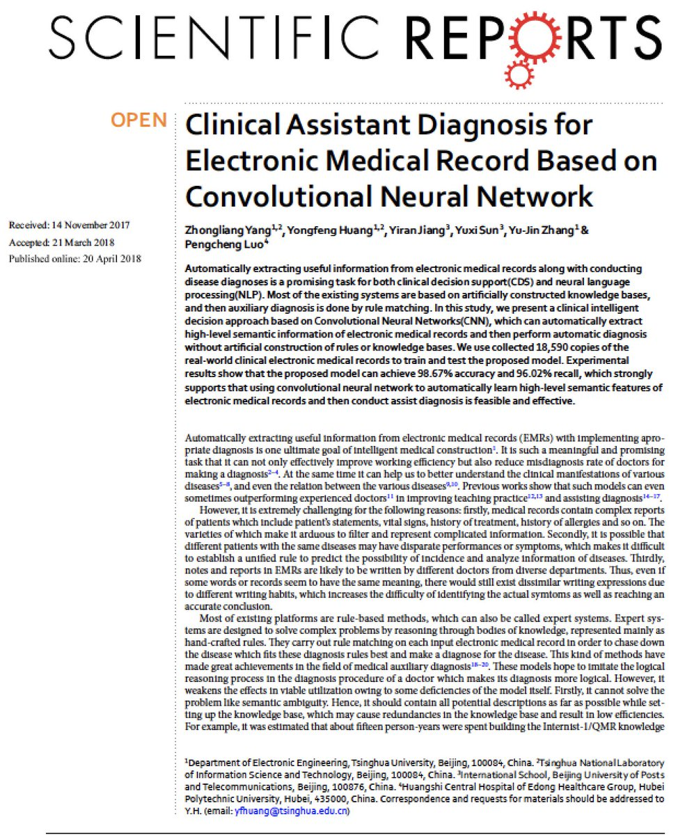 &quot;Clinical Assistant&quot;—deep learning #AI of #EHRs (CNN) to provide probability of diagnosis w/ very high accuracy  https://www. nature.com/articles/s4159 8-018-24389-w &nbsp; …  … (in silico, retrospective, but encouraging) @SciReports #OA <br>http://pic.twitter.com/DhhaOkNIAA