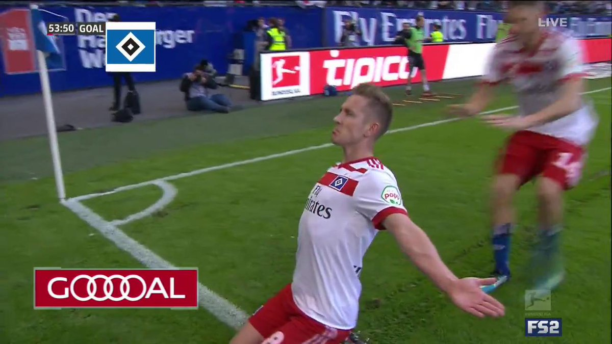 It's an absolute must-win for Hamburg, and Lewis Holtby has given HSV the lead on FS2.