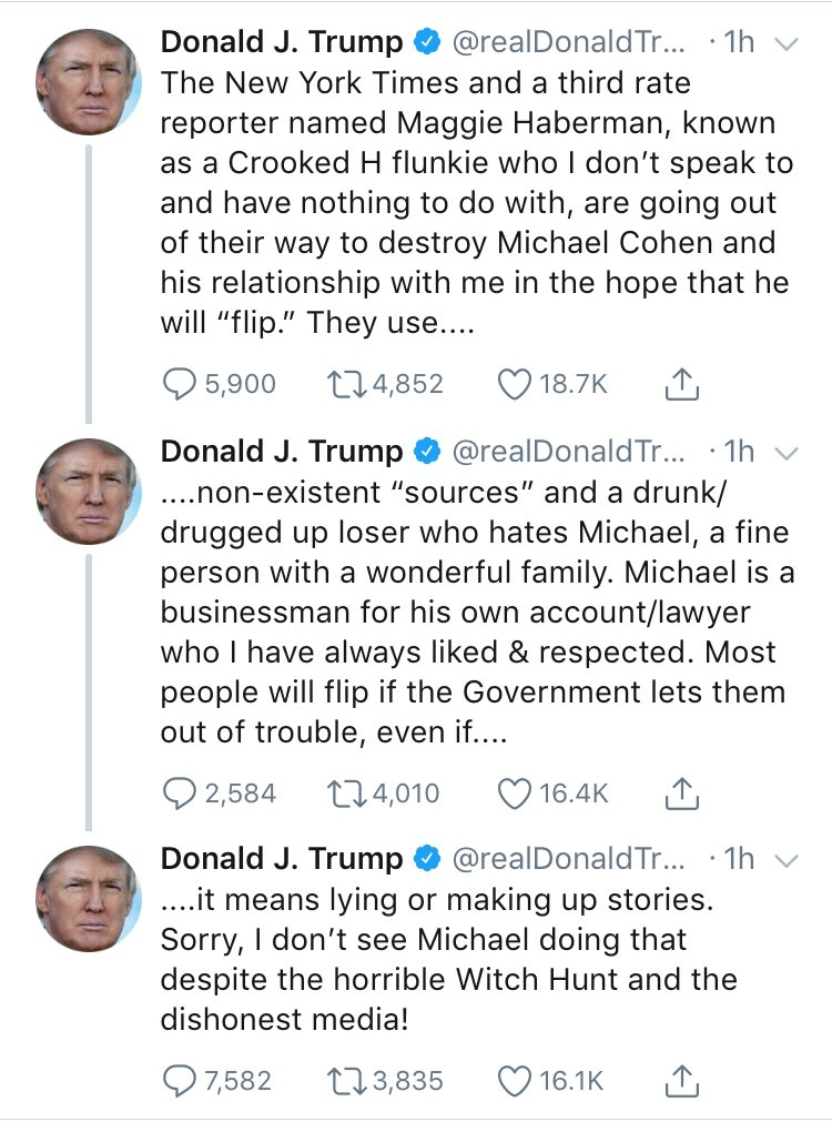 This reads like the president trying to disguise alarmed flatter-pleading with Cohen as his usual media criticism.