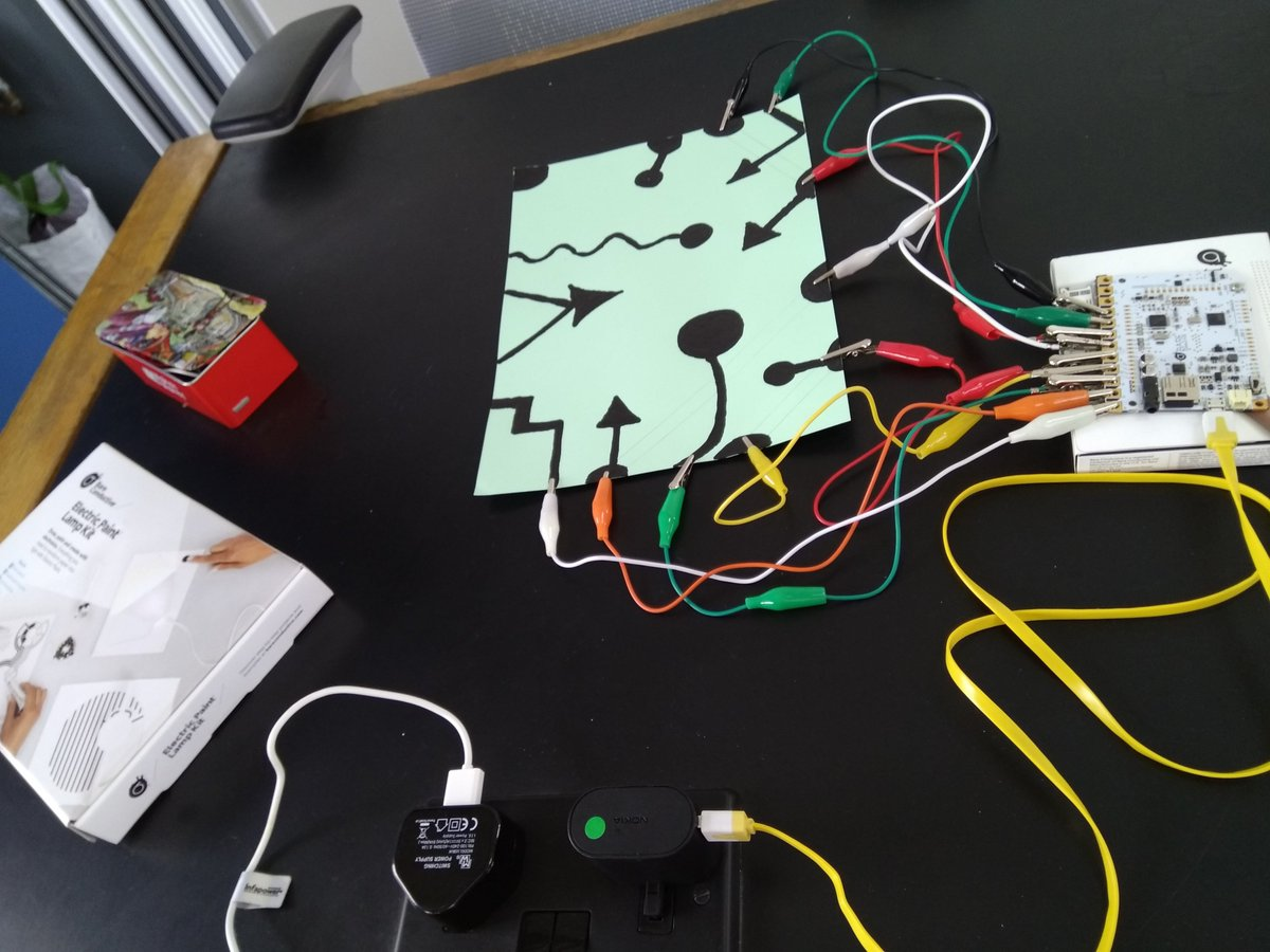 Great fun exploring creative possibilities with capacitive touch at today&#39;s #TheArtofTinkering event during @LeedsDigiFest, and exciting to hear others talk about their next projects.  Inspiring stuff working with @leedslibraries and @ODILeeds  #maker #Leeds #Touchboard<br>http://pic.twitter.com/dXJTLbKkKG