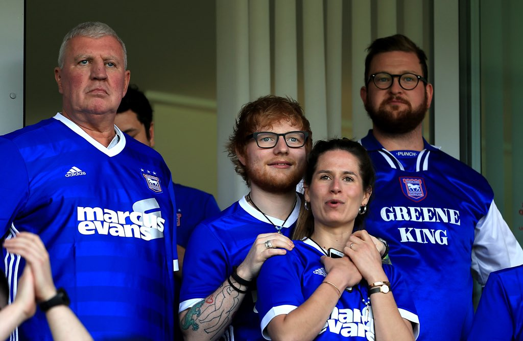 Ed Sheeran watched on as Ipswich lost 4-0