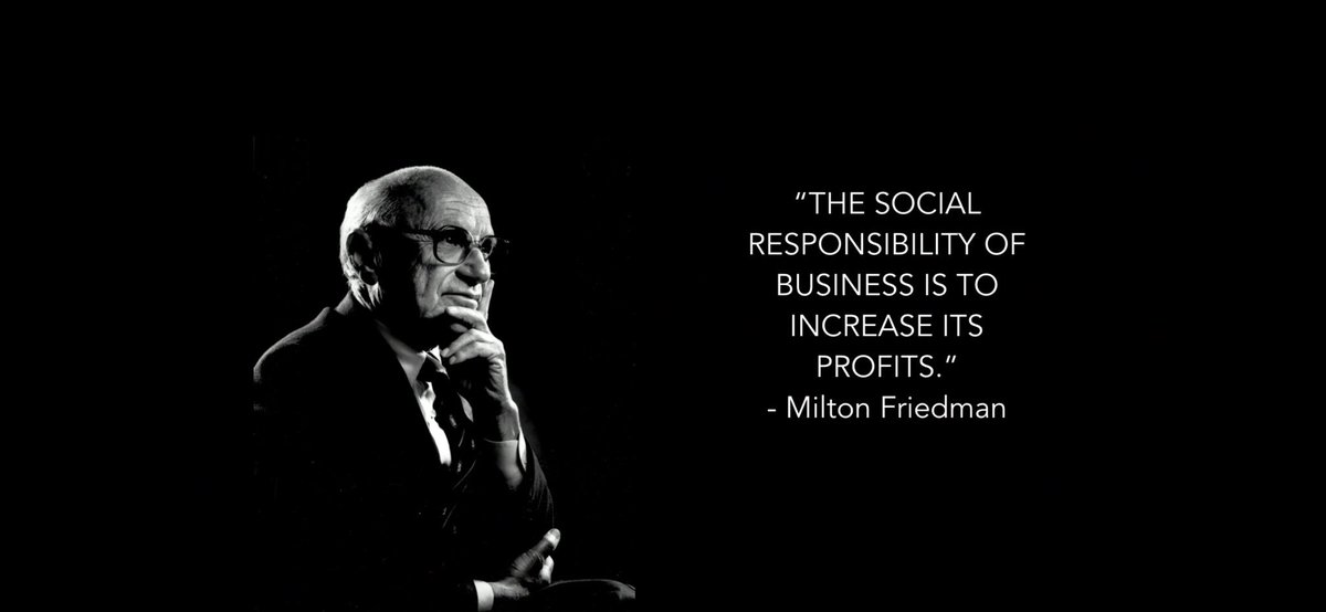 """5 according to milton friedman business has only one social responsibility to make profits as long a Milton friedman states """"there is only one social resposibility of businesses, to use its resources and engage in activities designed to increase profits so long as it engages in open, free competition, without deception or fraud."""