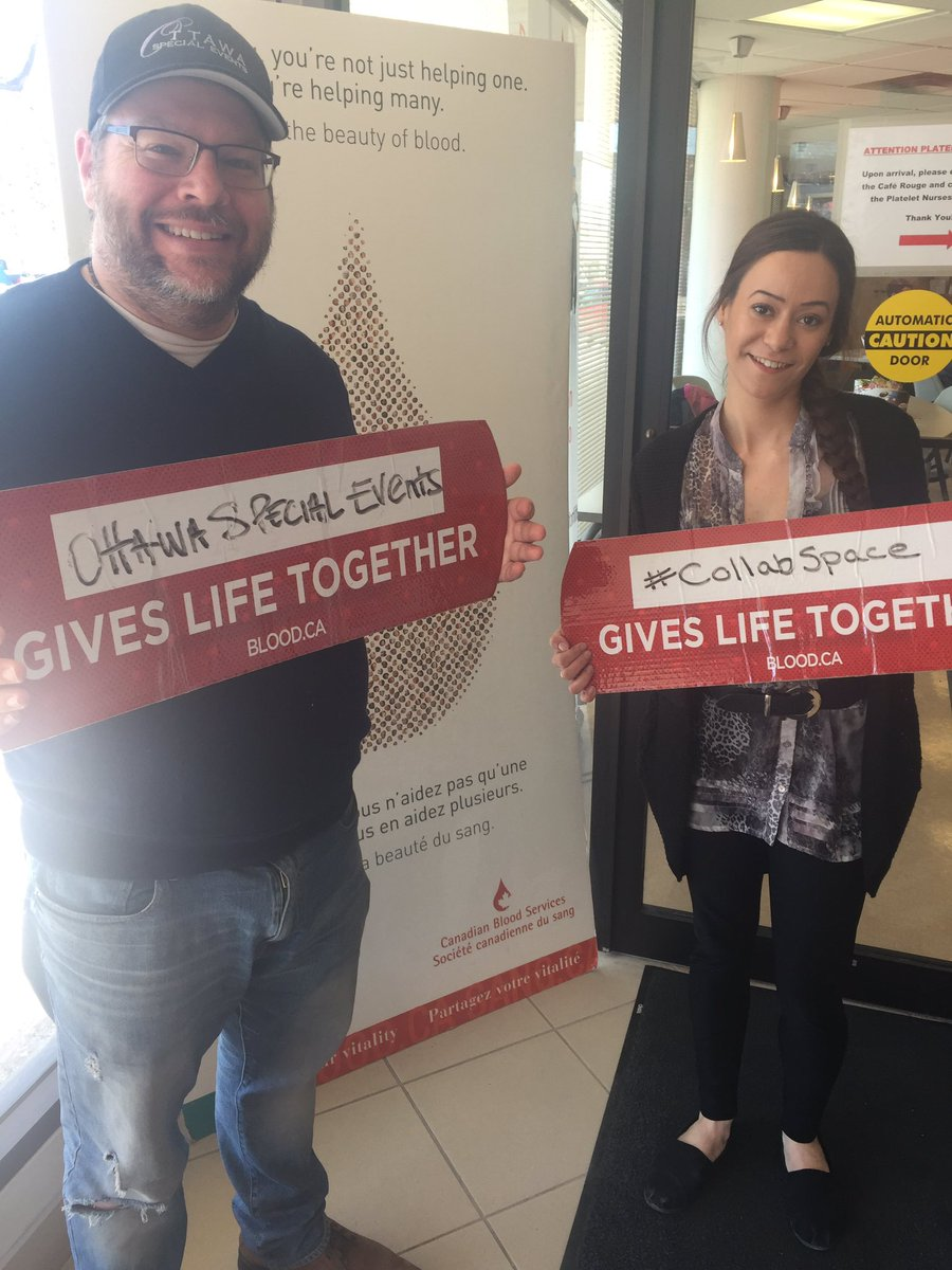 Here at the blood drive with @TheCollabSpace!  So many people have come out today to support this amazing cause!  It just so happens to be #NationalVolunteerWeek2018 as well!! Thank you #Ottawa!  #OttCity #ottnews<br>http://pic.twitter.com/ct9lbEl90U
