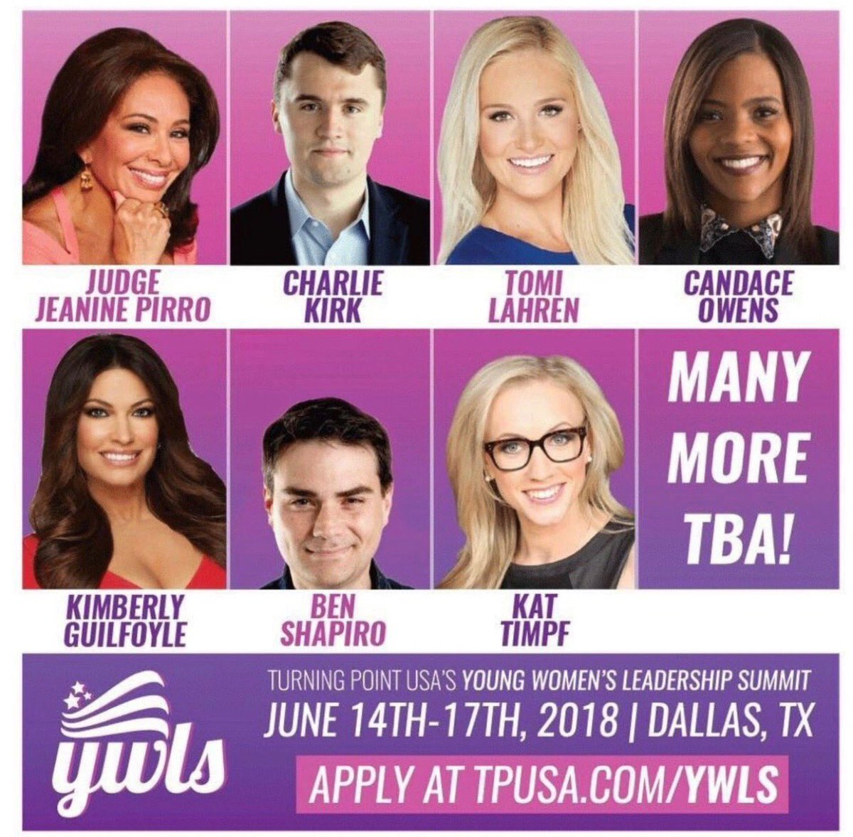 Looking forward hope you will join us at the Young Women's leadership summit! @charliekirk11 @TomiLahren @JudgeJeanine @benshapiro @RedPillBlack @KatTimpf 🇺🇸