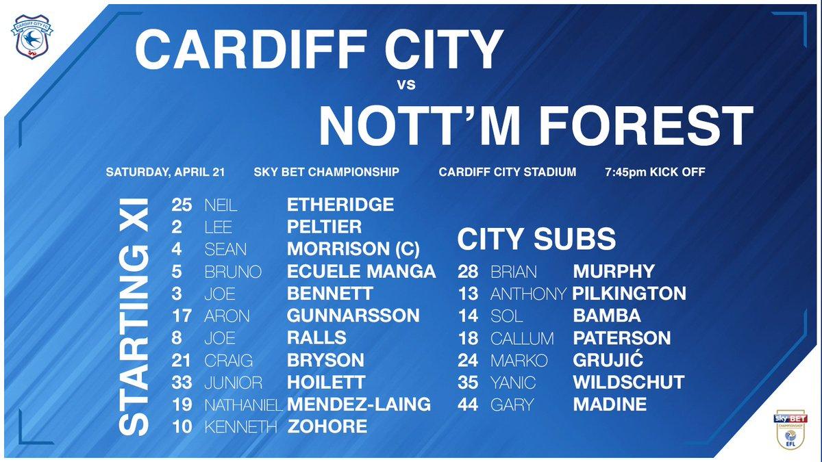 BREAKING TEAM NEWS: #CardiffCity vs. @NFFC!   3️⃣ changes: @kzohore, Bruno Manga & @Joe_Ralls start! 👍  #CityAsOne 🔵⚽️🔵⚽️