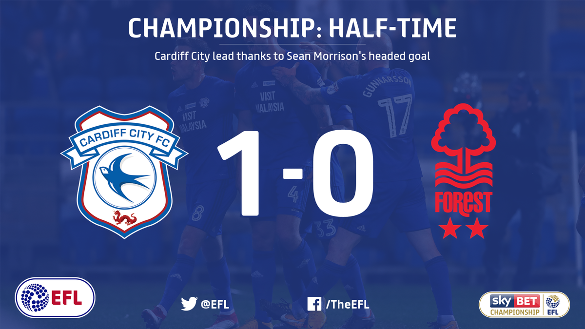 HALF-TIME: @CardiffCityFC lead @NFFC 1-0 at the break.   Can Forest fight back?