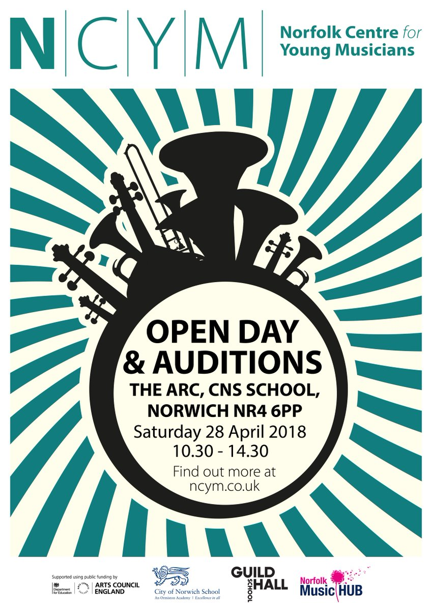 An excellent opportunity to see what goes on at Norfolk Centre for Young Musicians and the potential to audition for 2018 entry - next weekend, Saturday 28th April. Register online >> ncym.co.uk/ncym-open-day-…