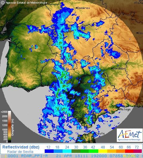 A las 21:20 horas el radar detecta precipitaciones en todas las provincias occidentales