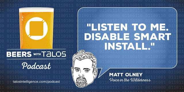 Beers with Talos EP27: Speaker line-up for Talos Threat Research Summit, Smart Installer, How it Works: discovering vulns and working with vendors #ciscosecurity #security #talosintelligence #cisco #network #cisconetwork #psirt #cybersecurity #infosecurity bit.ly/2vx2I98