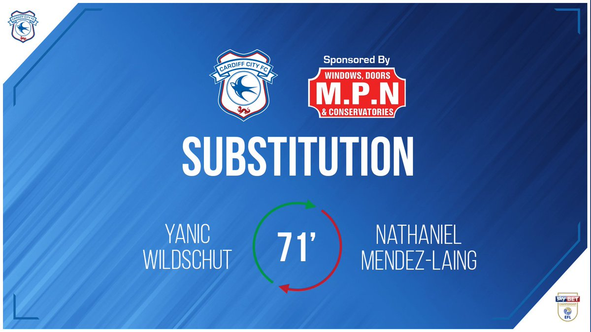 71 - Second #CardiffCity change: @mendezlaing19 replaced by @yanicw33. (1-1)  Matchday Live 👉 bit.ly/2HiFKbz  #CityAsOne 🔵⚽️🔵⚽️