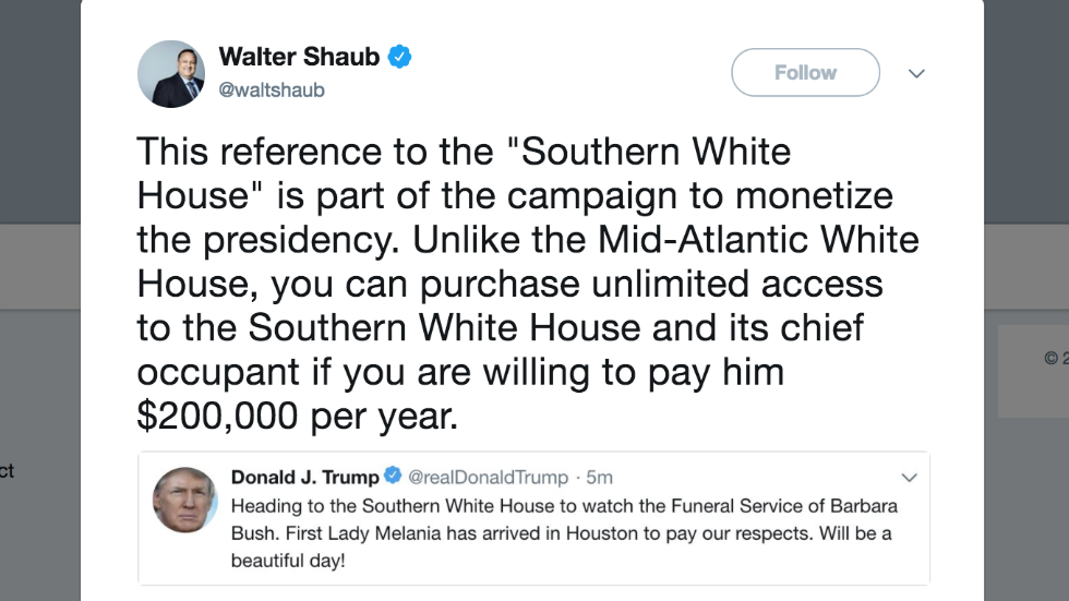 Ex-Trump ethics chief: Calling Mar-a-Lago the 'Southern White House' is Trump trying to monetize the presidency https://t.co/0QV2VFiQg7