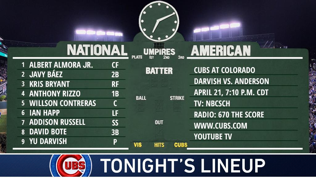 Here is tonight's #Cubs lineup against the #Rockies.  Stream on @YouTubeTV: https://t.co/t4XvcdoeJc #EverybodyIn https://t.co/Itc1Im7ooY