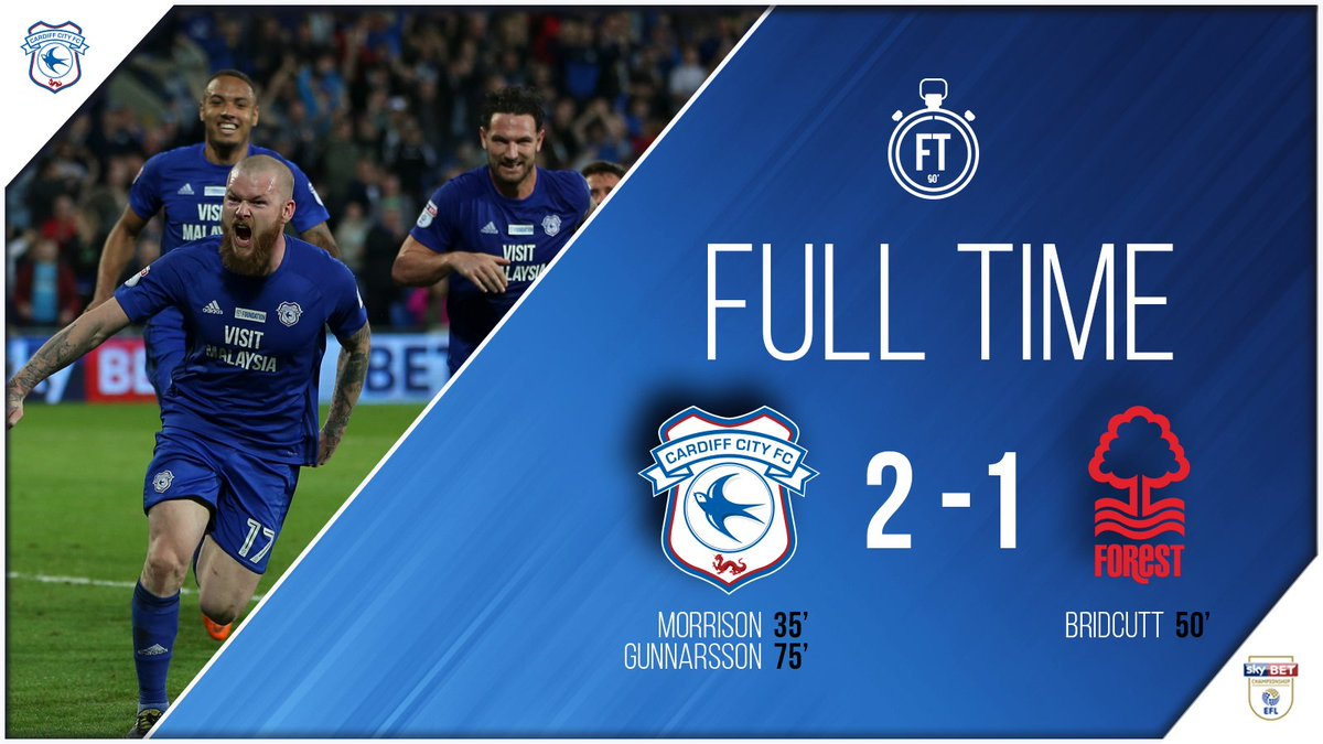 FULL TIME: #CardiffCity 2-1 @NFFC!  3️⃣ more huge points on the board!   3️⃣ games left!  #CityAsOne 🔵⚽️🔵⚽️