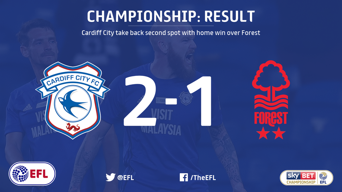 FULL-TIME: @CardiffCityFC regain second place in the @SkyBetChamp win 2-1 victory over @NFFC.   Two to go, Bluebirds… 👀