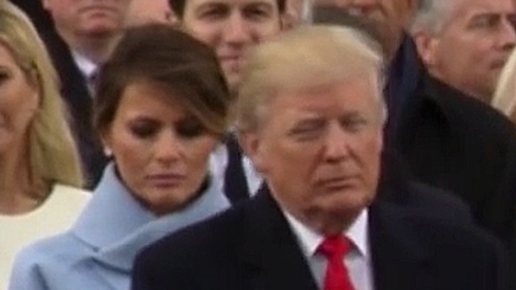Poor Melania. You never see her smile. Oh no, hold on...