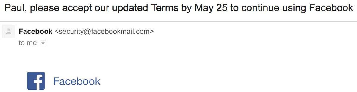 Dear Facebook - I no longer except 'please accept the terms' ultimatums. May 25's gonna be an interesting day.