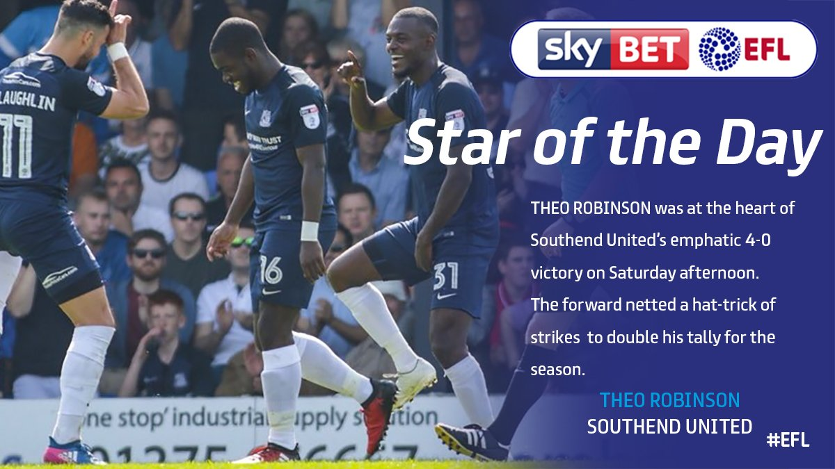 #EFL STAR OF THE DAY: ⭐️  @theorobinson09 was the main man as @SUFCRootsHall strolled to 4-0 victory over @MKDonsFC.   🔥