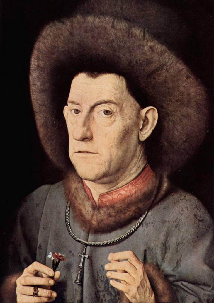 """Portrait of a Man with Carnation"" -Jan van Eyck (1435)"