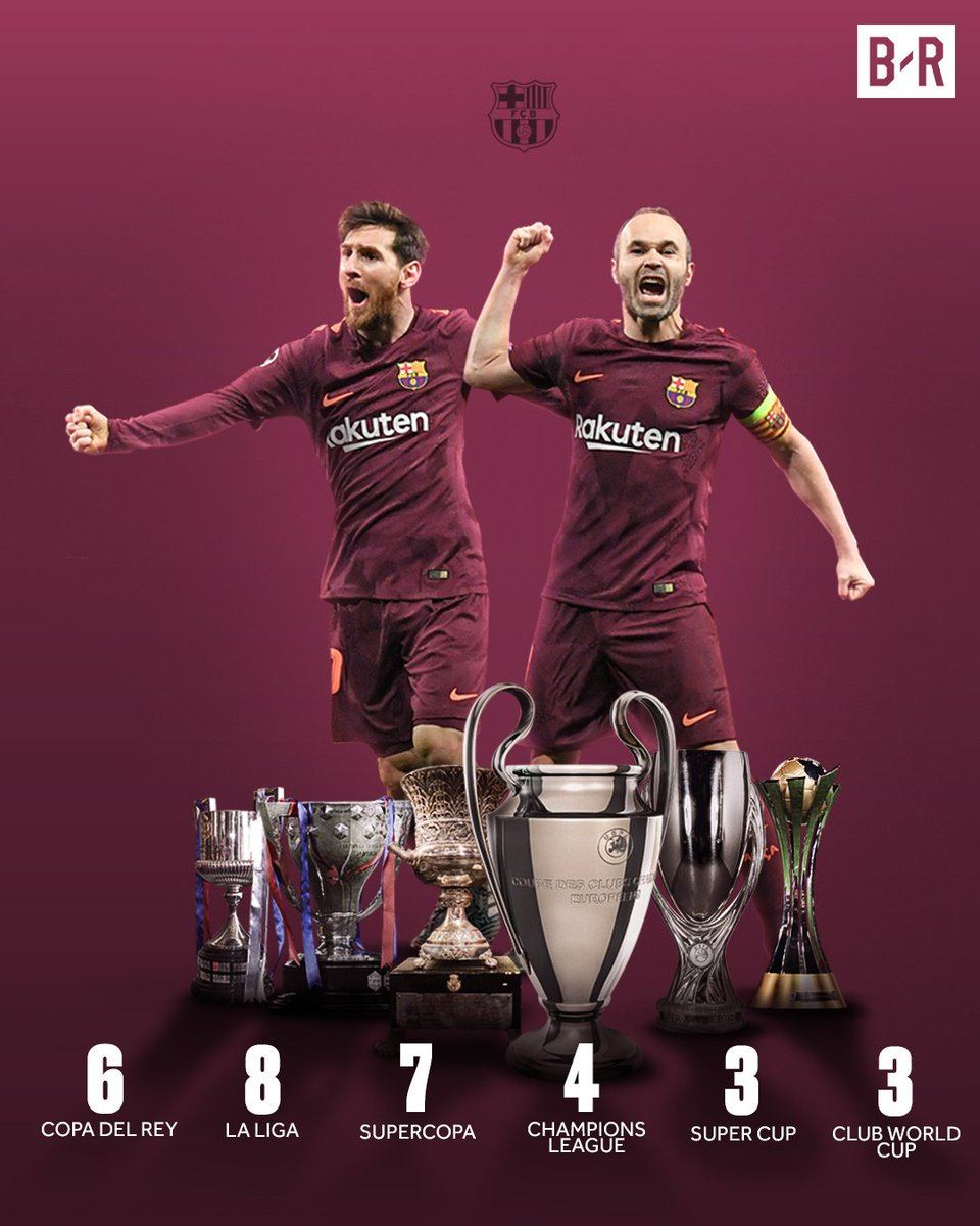 Lionel Messi and Andres Iniesta have won...