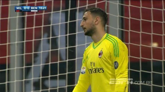 Donnarumma evita gol contra BIZARRO em cima da linha e faz cara de poucos amigos https://t.co/w4Szz5ehQF
