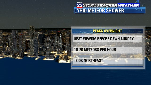 Cool but clear for the #Lyrids overnight... #Boston25 #ShootingStar #MeteorShower