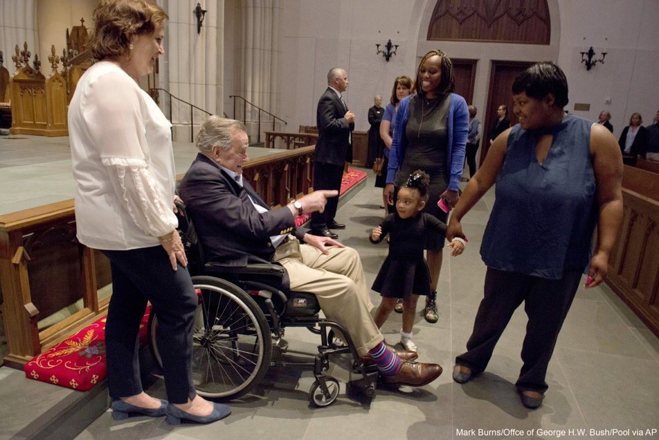 From Friday: He is a former president of the United States, who has just lost his wife of 73 years and is in poor health himself. But he has time and energy to greet people who came to pay respects to the late Mrs. Bush. How like him to do that.