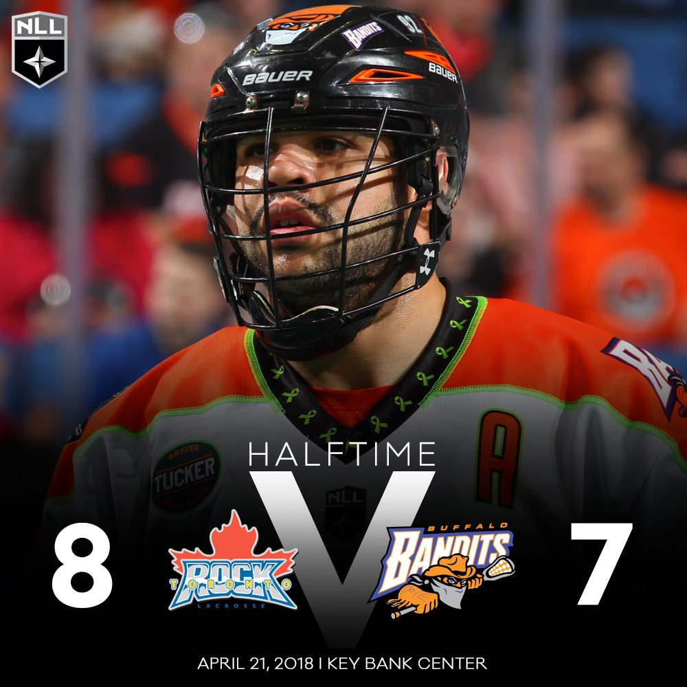 The @TorontoRockLax have a 8-7 lead over the @NLLBandits at halftime of the @twitter #GOTW! Watch second half action at https://t.co/3WVrJk1l7d #NLL #TORvsBUF