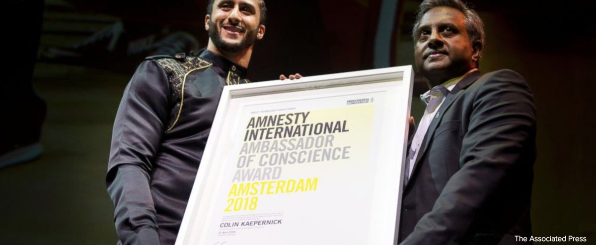 Amnesty International gave former NFL quarterback Colin Kaepernick its Ambassador of Conscience Award on Saturday for his kneeling protest of racial injustice. https://t.co/6qwUIYi3JR