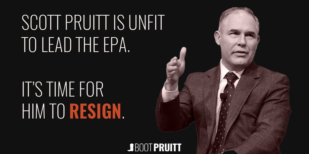 .@EPAScottPruitt's dirty dealings with corporate polluters could cost us our health. Read: https://t.co/a8lJ9lMZfE #BootPruitt