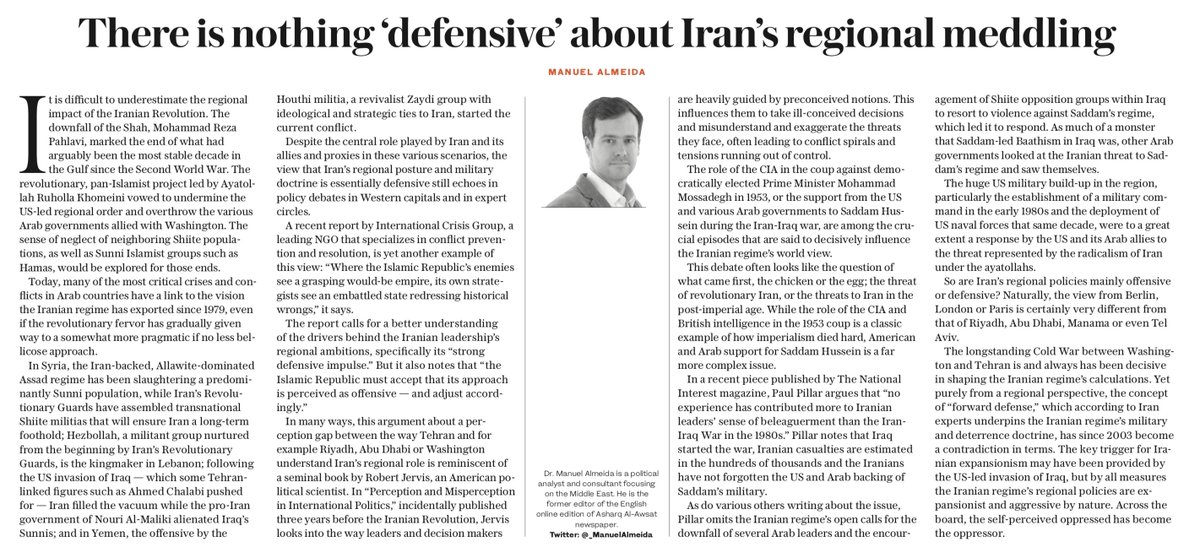 OP-ED: The key trigger for #Iranian expansionism may have been provided by the US-led invasion of #Iraq, but by all measures the Iranian regime's regional policies are expansionist and aggressive by nature, writes @_ManuelAlmeida https://t.co/68wlUKFdHa